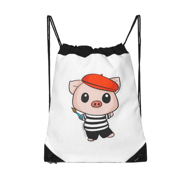 Pablo Pigcasso Accessories Drawstring Bag Bag by Dino & Panda Inc Artist Shop