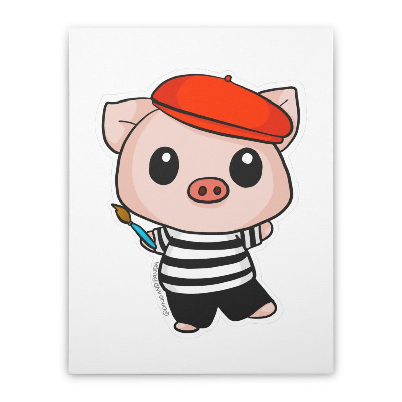 Pablo Pigcasso Home Stretched Canvas by Dino & Panda Artist Shop