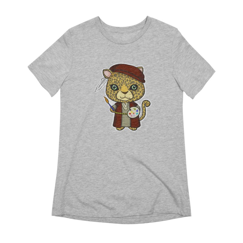 Leopardo da Vinci Women's Extra Soft T-Shirt by Dino & Panda Inc Artist Shop
