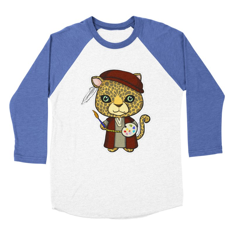Leopardo da Vinci Women's Baseball Triblend Longsleeve T-Shirt by Dino & Panda Inc Artist Shop