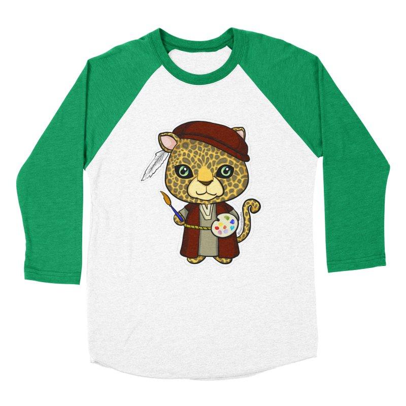 Leopardo da Vinci Women's Baseball Triblend Longsleeve T-Shirt by Dino & Panda Inc Artist Shop