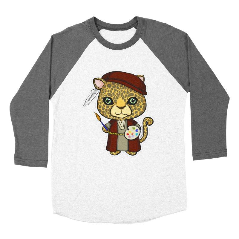 Leopardo da Vinci Men's Baseball Triblend Longsleeve T-Shirt by Dino & Panda Inc Artist Shop