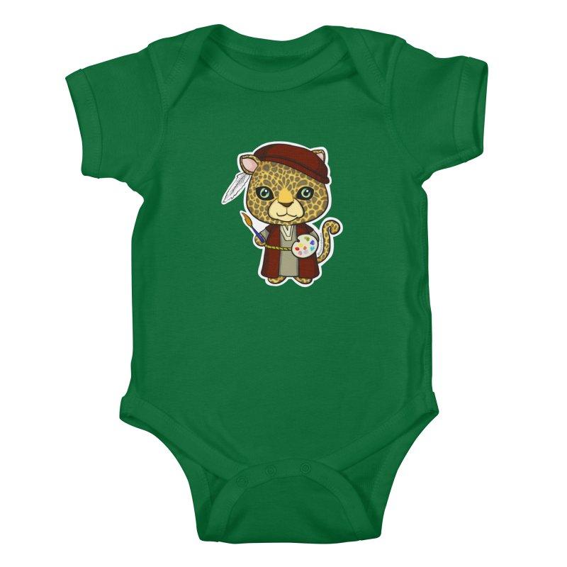Leopardo da Vinci Kids Baby Bodysuit by Dino & Panda Artist Shop