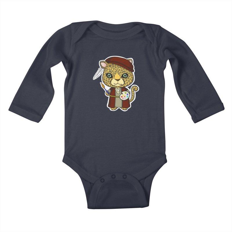 Leopardo da Vinci Kids Baby Longsleeve Bodysuit by Dino & Panda Artist Shop