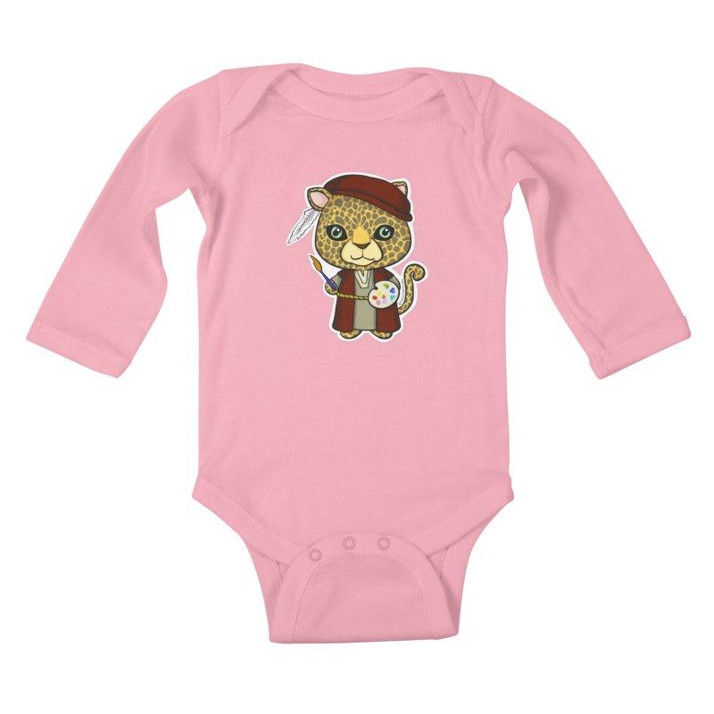 Leopardo da Vinci Kids Baby Longsleeve Bodysuit by Dino & Panda Inc Artist Shop
