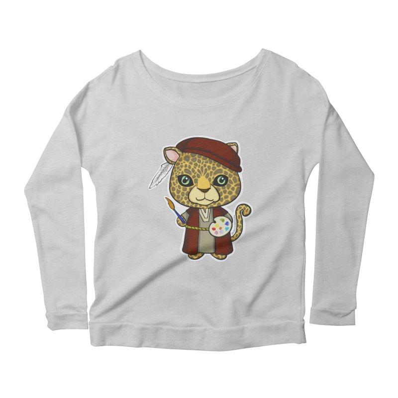 Leopardo da Vinci Women's Scoop Neck Longsleeve T-Shirt by Dino & Panda Inc Artist Shop