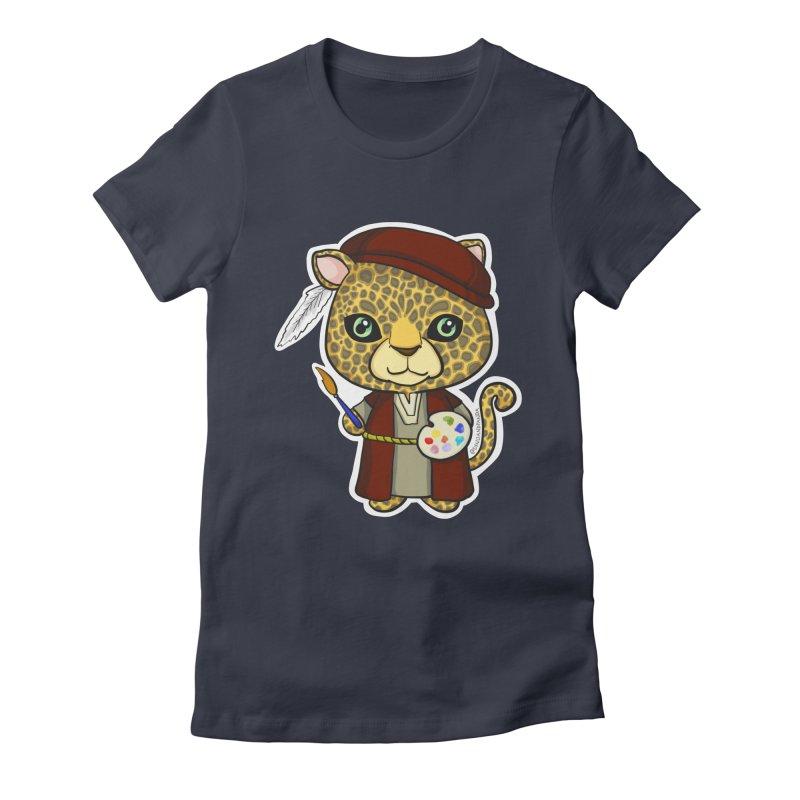 Leopardo da Vinci Women's Fitted T-Shirt by Dino & Panda Inc Artist Shop