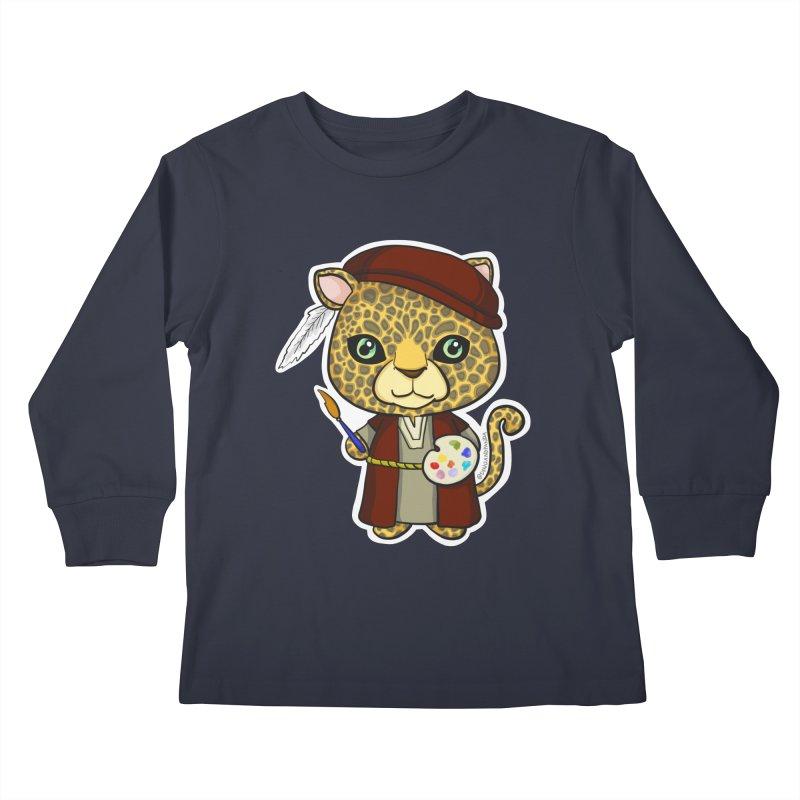 Leopardo da Vinci Kids Longsleeve T-Shirt by Dino & Panda Artist Shop