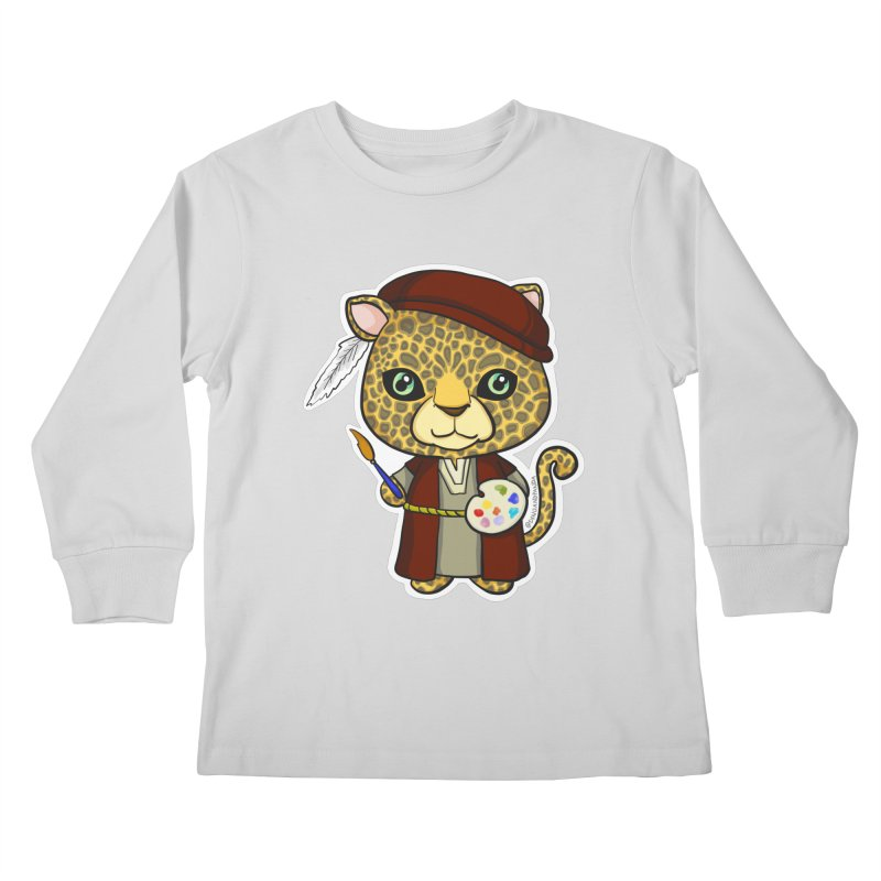 Leopardo da Vinci Kids Longsleeve T-Shirt by Dino & Panda Inc Artist Shop