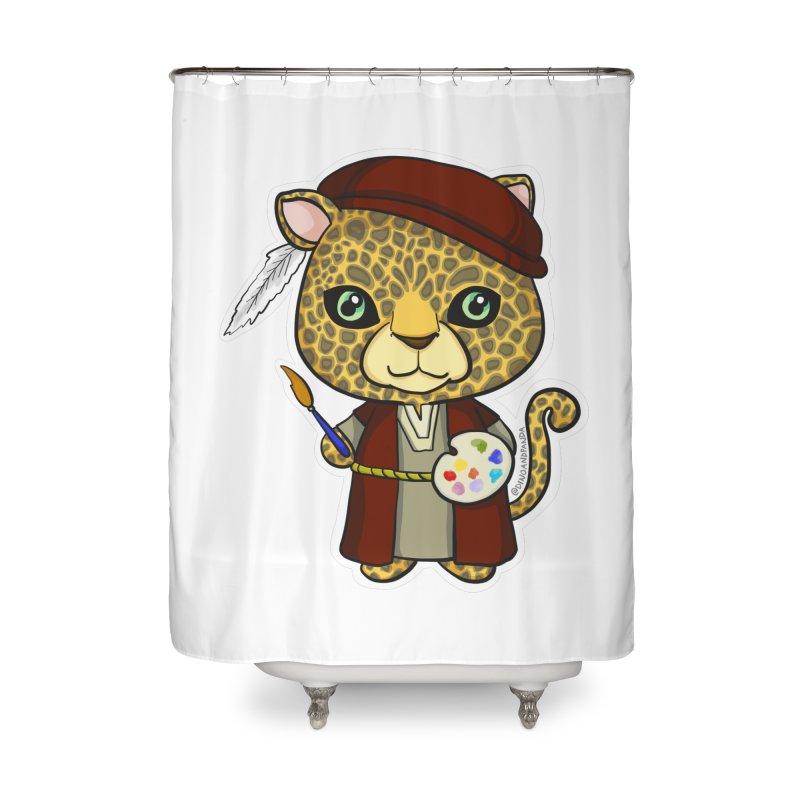 Leopardo da Vinci Home Shower Curtain by Dino & Panda Inc Artist Shop