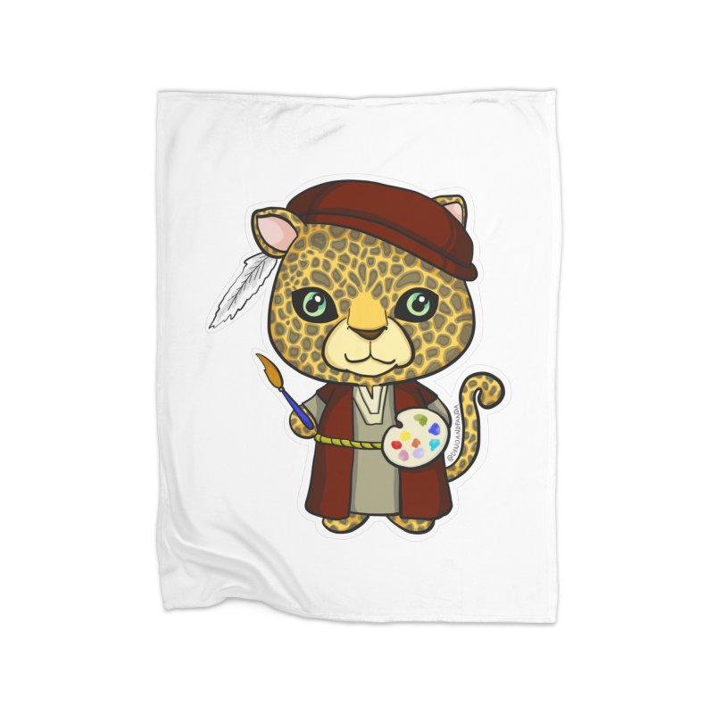 Leopardo da Vinci Home Fleece Blanket Blanket by Dino & Panda Inc Artist Shop