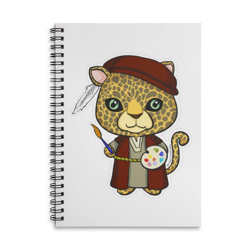 Leopardo da Vinci Accessories Lined Spiral Notebook by Dino & Panda Inc Artist Shop