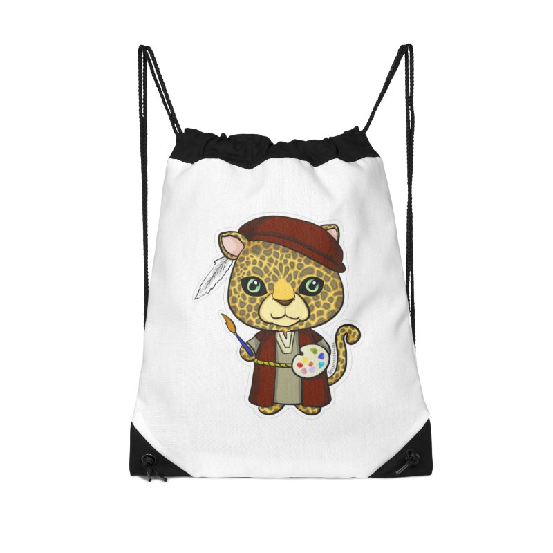 Leopardo da Vinci Accessories Drawstring Bag Bag by Dino & Panda Inc Artist Shop