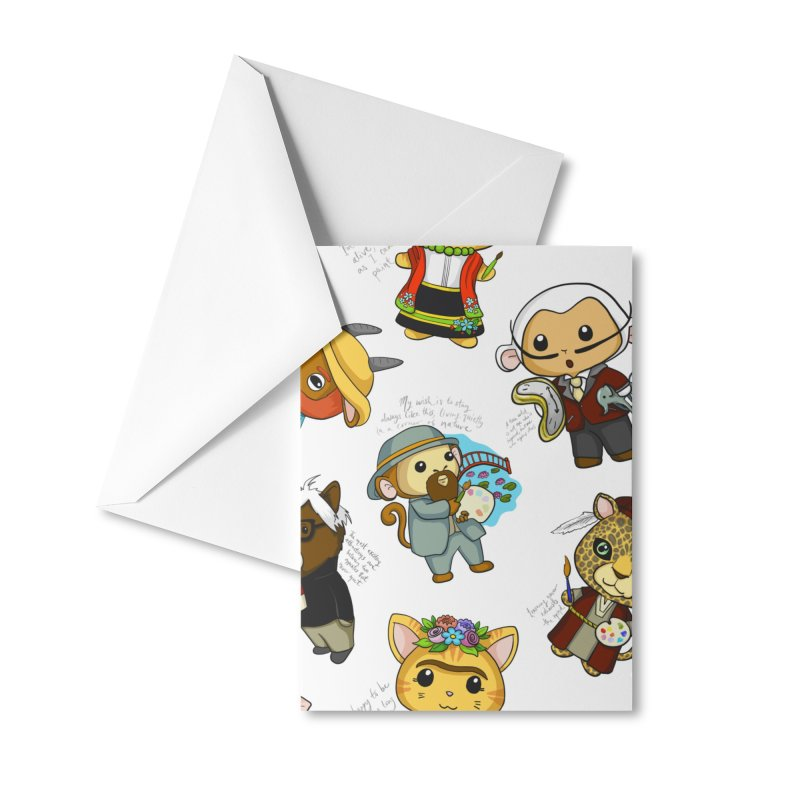 Punny Artist Animals Pattern Accessories Greeting Card by Dino & Panda Artist Shop