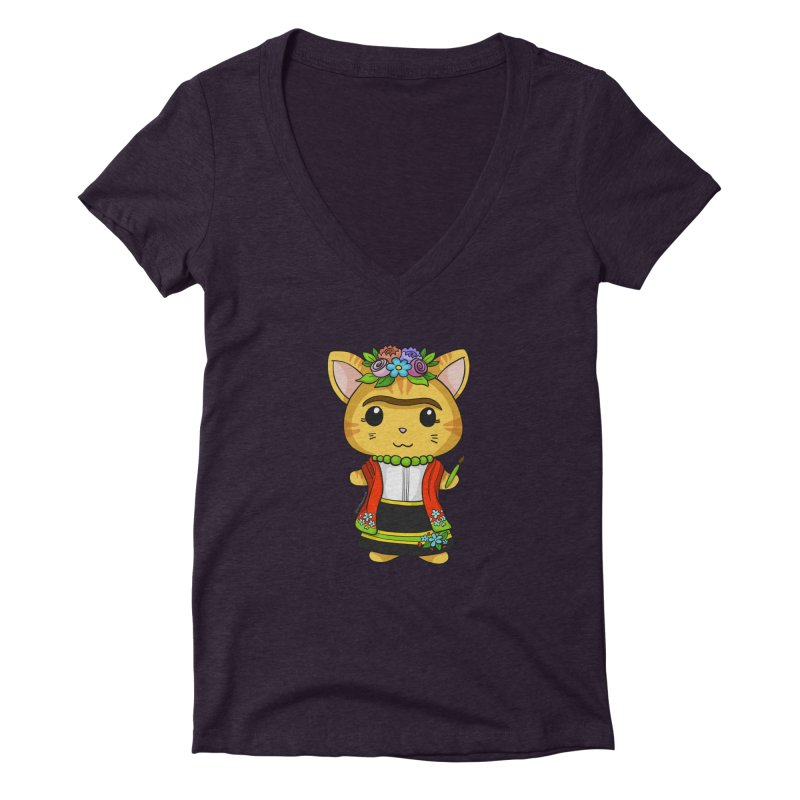 Frida Katlo Women's Deep V-Neck V-Neck by Dino & Panda Inc Artist Shop