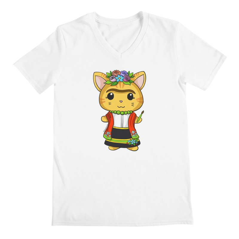 Frida Katlo Men's V-Neck by Dino & Panda Artist Shop