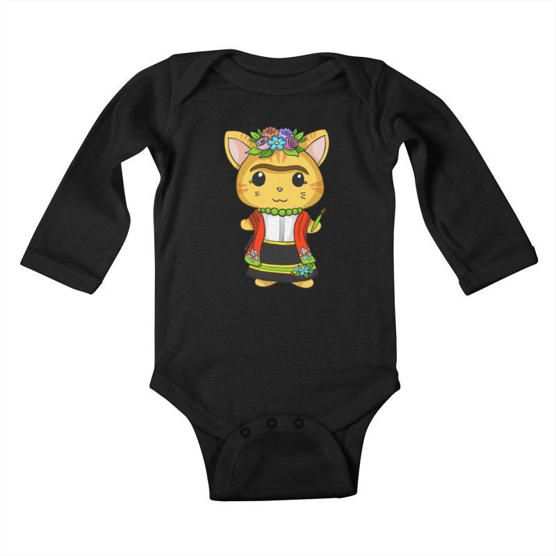 Frida Katlo Kids Baby Longsleeve Bodysuit by Dino & Panda Inc Artist Shop