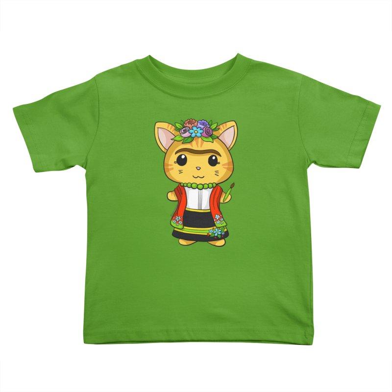 Frida Katlo Kids Toddler T-Shirt by Dino & Panda Artist Shop