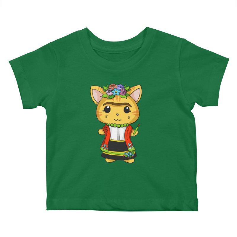 Frida Katlo Kids Baby T-Shirt by Dino & Panda Artist Shop