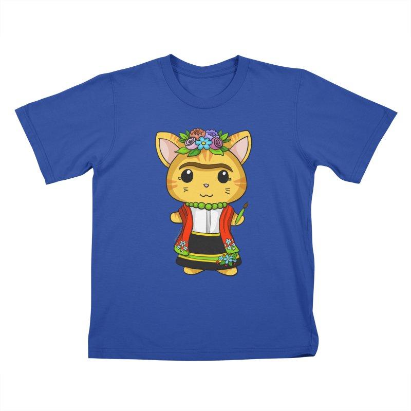 Frida Katlo Kids T-Shirt by Dino & Panda Inc Artist Shop