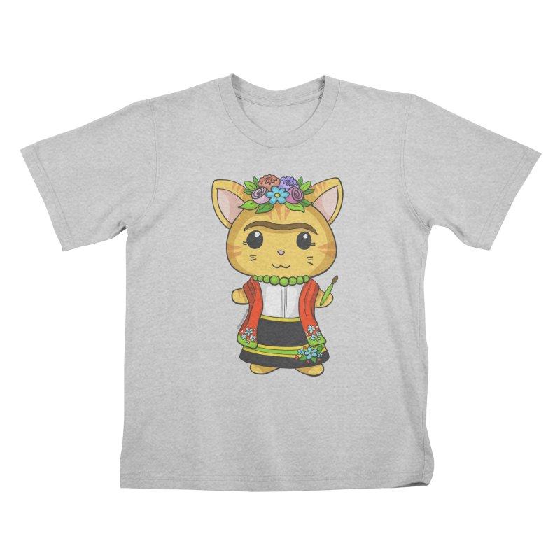 Frida Katlo Kids T-Shirt by Dino & Panda Artist Shop
