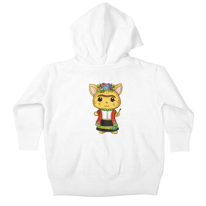 Frida Katlo Kids Baby Zip-Up Hoody by Dino & Panda Artist Shop