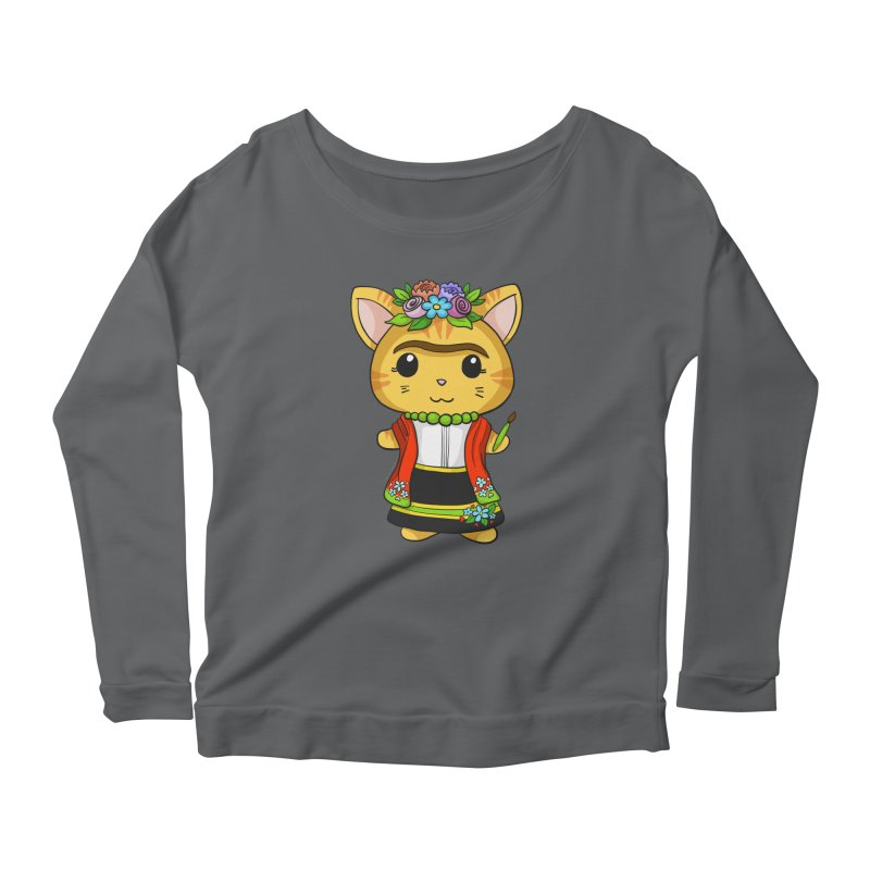 Frida Katlo Women's Scoop Neck Longsleeve T-Shirt by Dino & Panda Inc Artist Shop