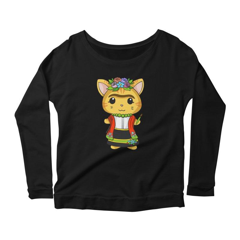 Frida Katlo Women's Scoop Neck Longsleeve T-Shirt by Dino & Panda Inc Artist Shop