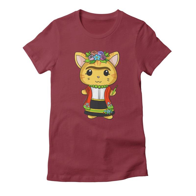 Frida Katlo Women's Fitted T-Shirt by Dino & Panda Inc Artist Shop
