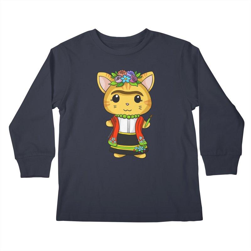 Frida Katlo Kids Longsleeve T-Shirt by Dino & Panda Artist Shop