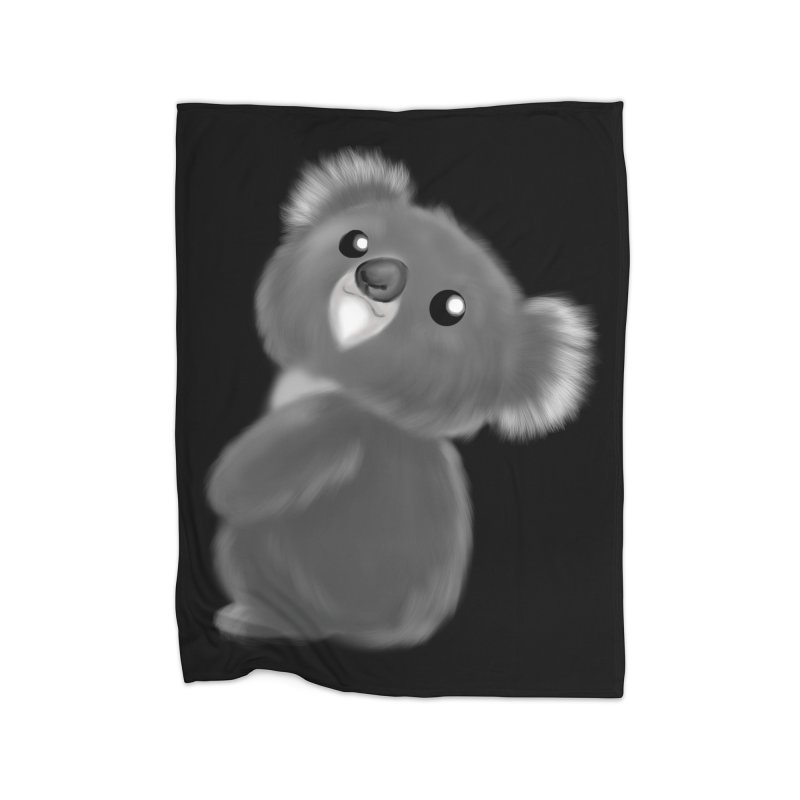 Fluffy Koala Home Fleece Blanket Blanket by Dino & Panda Inc Artist Shop