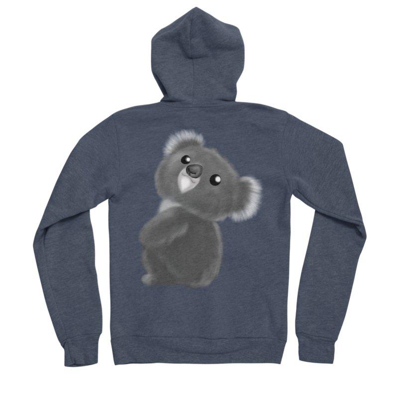 Fluffy Koala Women's Sponge Fleece Zip-Up Hoody by Dino & Panda Inc Artist Shop