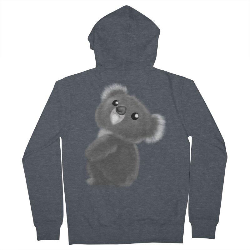 Fluffy Koala Women's French Terry Zip-Up Hoody by Dino & Panda Inc Artist Shop