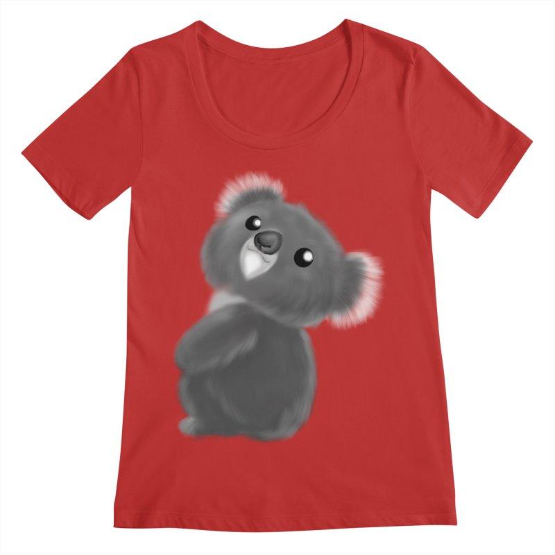 Fluffy Koala Women's Regular Scoop Neck by Dino & Panda Inc Artist Shop