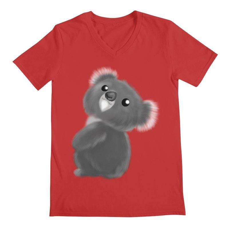 Fluffy Koala Men's Regular V-Neck by Dino & Panda Inc Artist Shop