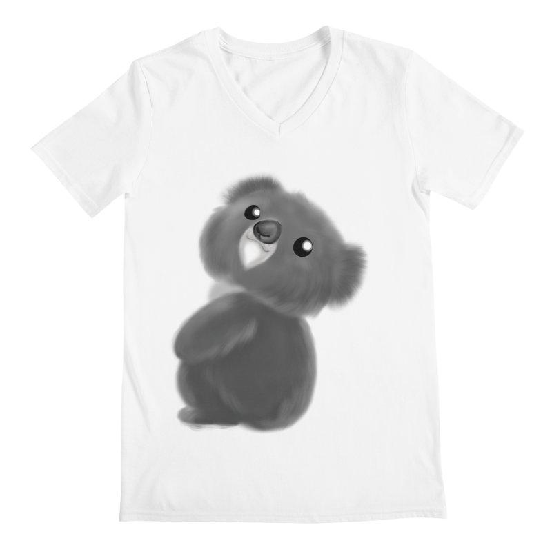 Fluffy Koala Men's V-Neck by Dino & Panda Artist Shop