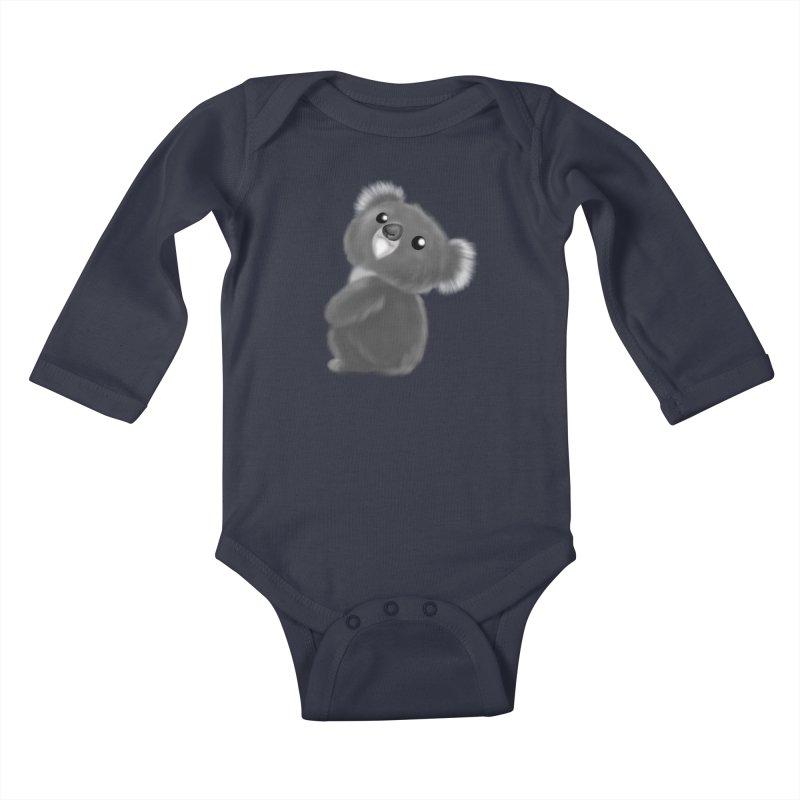 Fluffy Koala Kids Baby Longsleeve Bodysuit by Dino & Panda Artist Shop