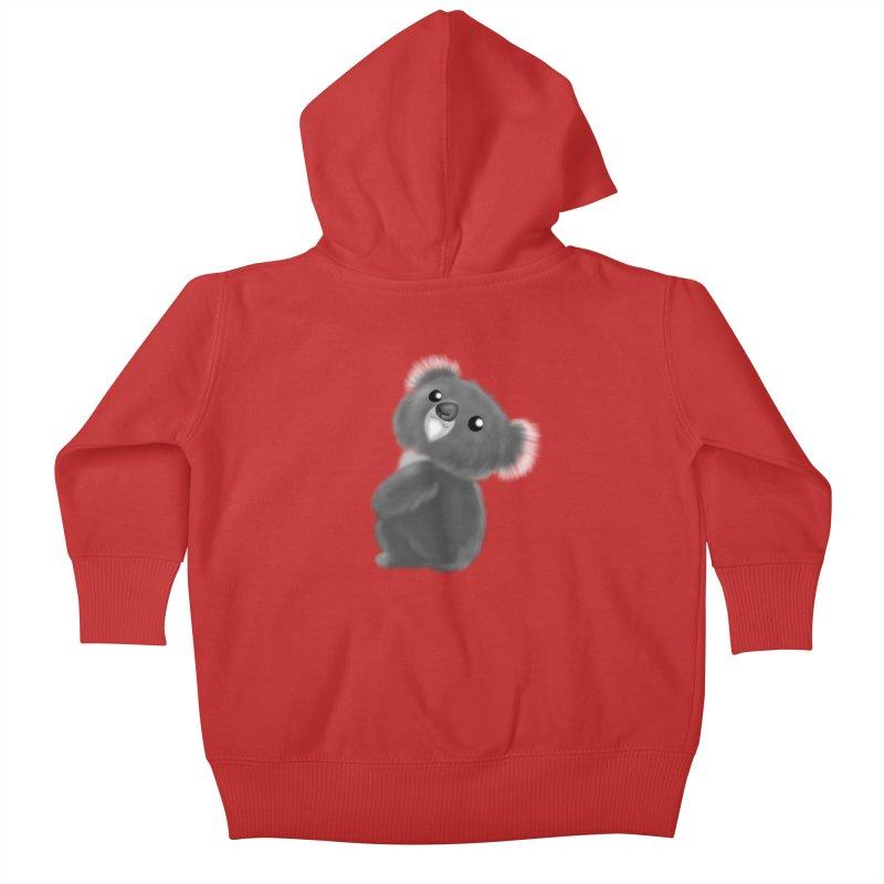 Fluffy Koala Kids Baby Zip-Up Hoody by Dino & Panda Inc Artist Shop