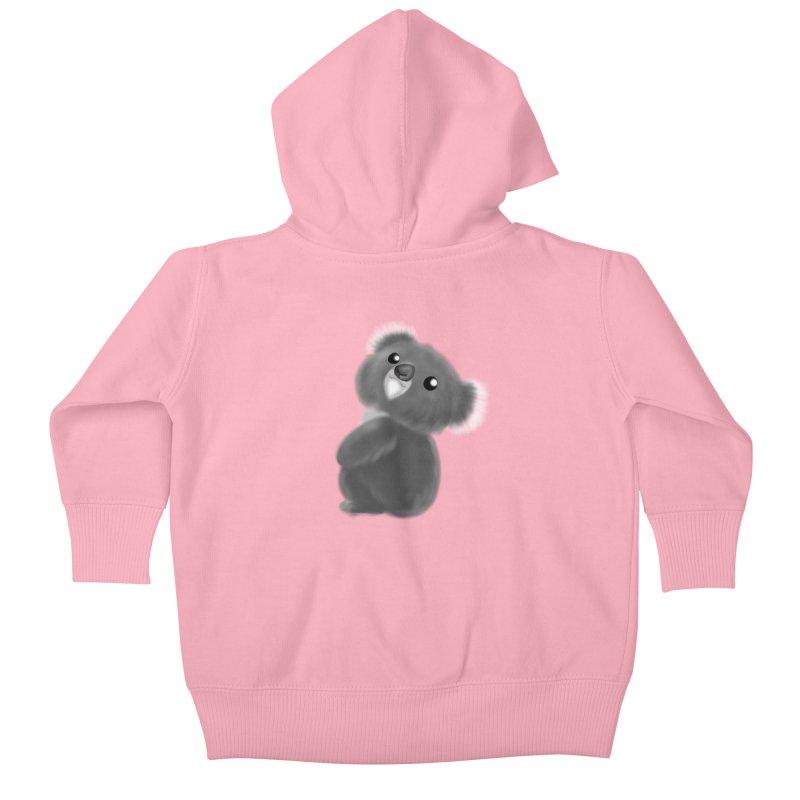 Fluffy Koala Kids Baby Zip-Up Hoody by Dino & Panda Artist Shop