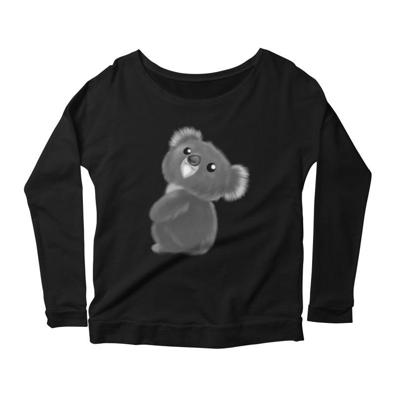 Fluffy Koala Women's Scoop Neck Longsleeve T-Shirt by Dino & Panda Inc Artist Shop