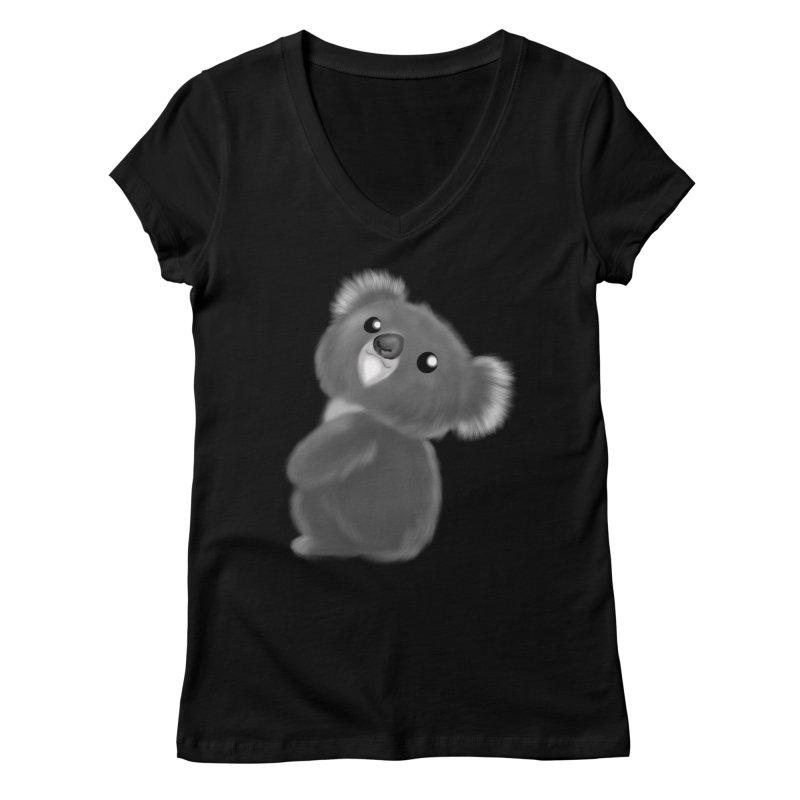 Fluffy Koala Women's V-Neck by Dino & Panda Artist Shop