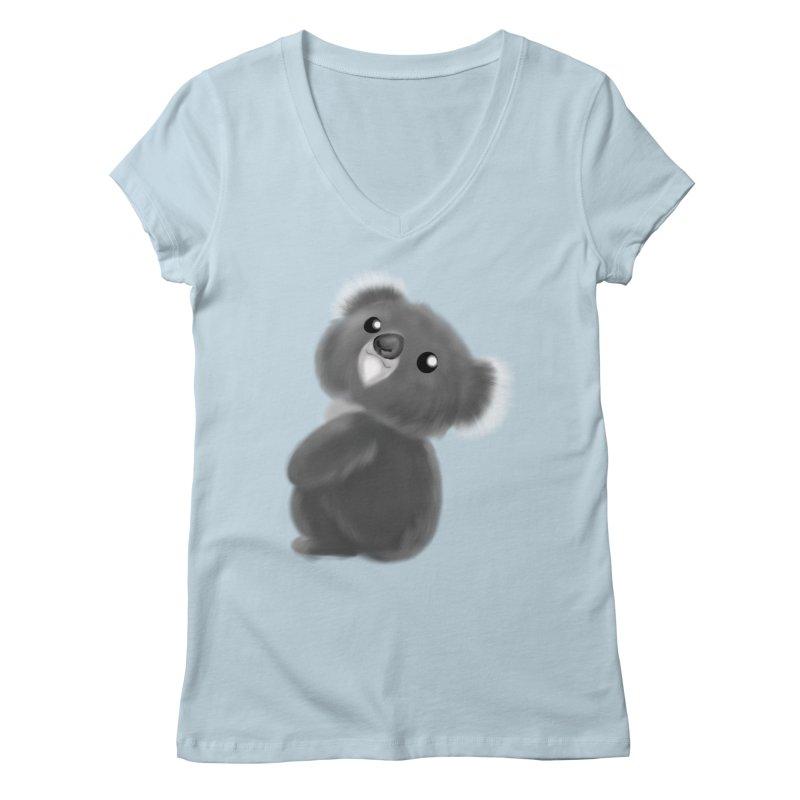 Fluffy Koala Women's Regular V-Neck by Dino & Panda Inc Artist Shop