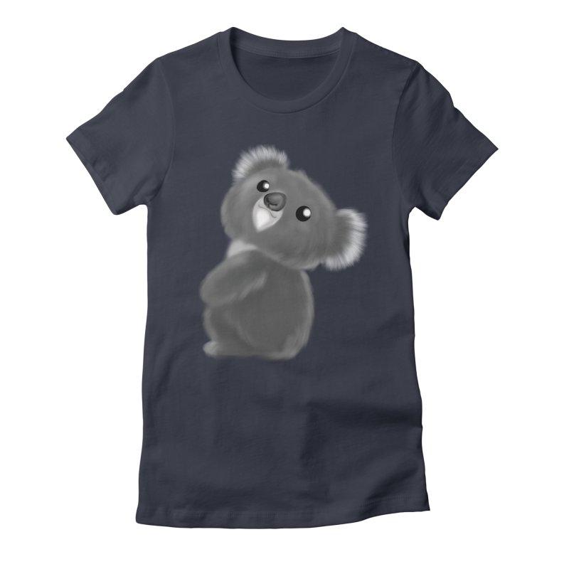 Fluffy Koala Women's Fitted T-Shirt by Dino & Panda Inc Artist Shop