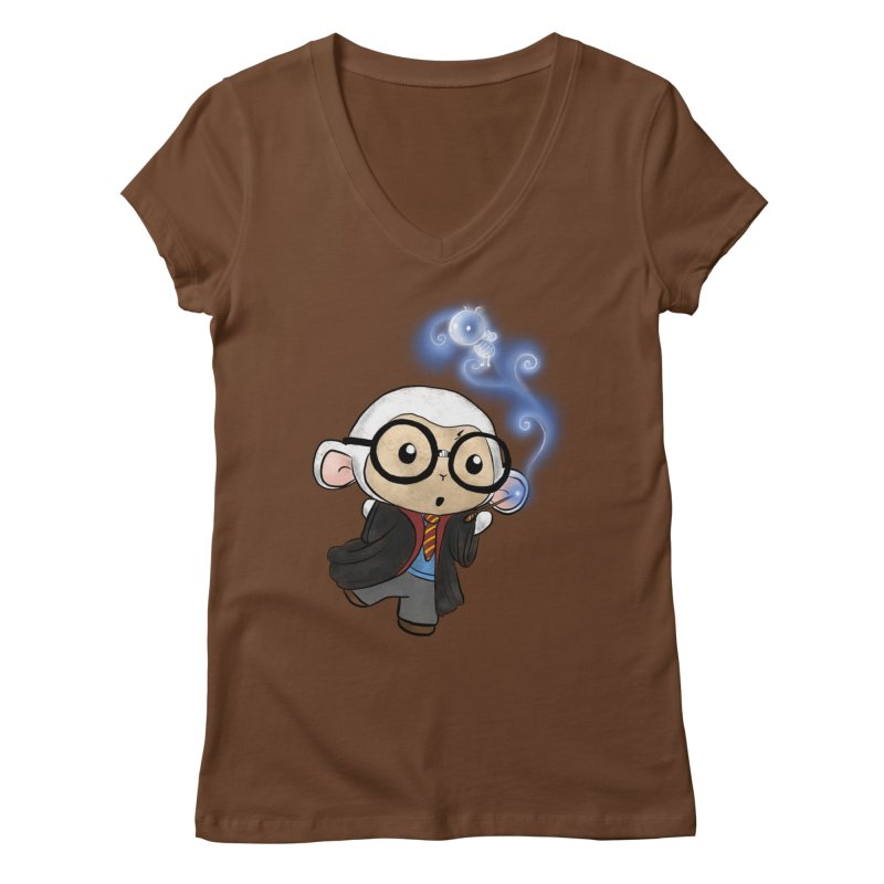 Lambie Potter and his Patronus Women's Regular V-Neck by Dino & Panda Inc Artist Shop