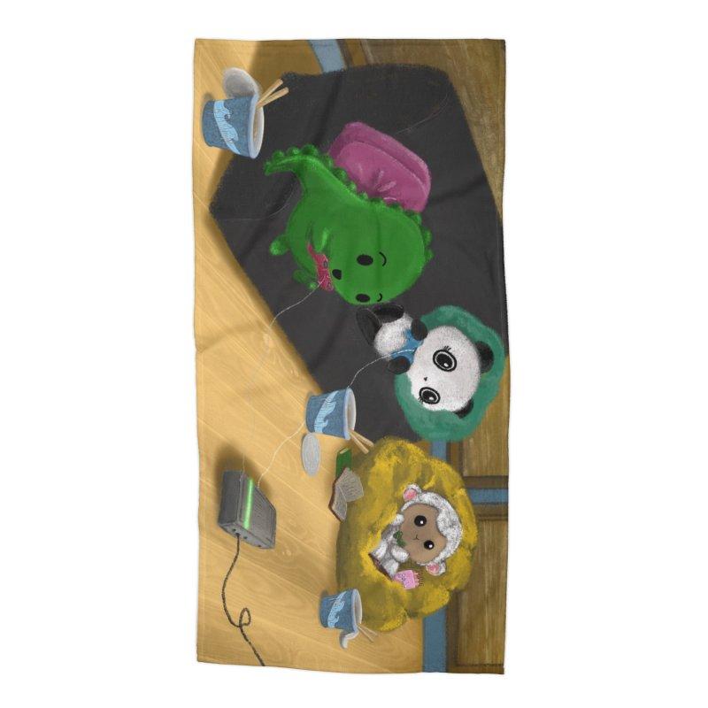 Dino, Panda, and Lambie Gamers Accessories Beach Towel by Dino & Panda Artist Shop
