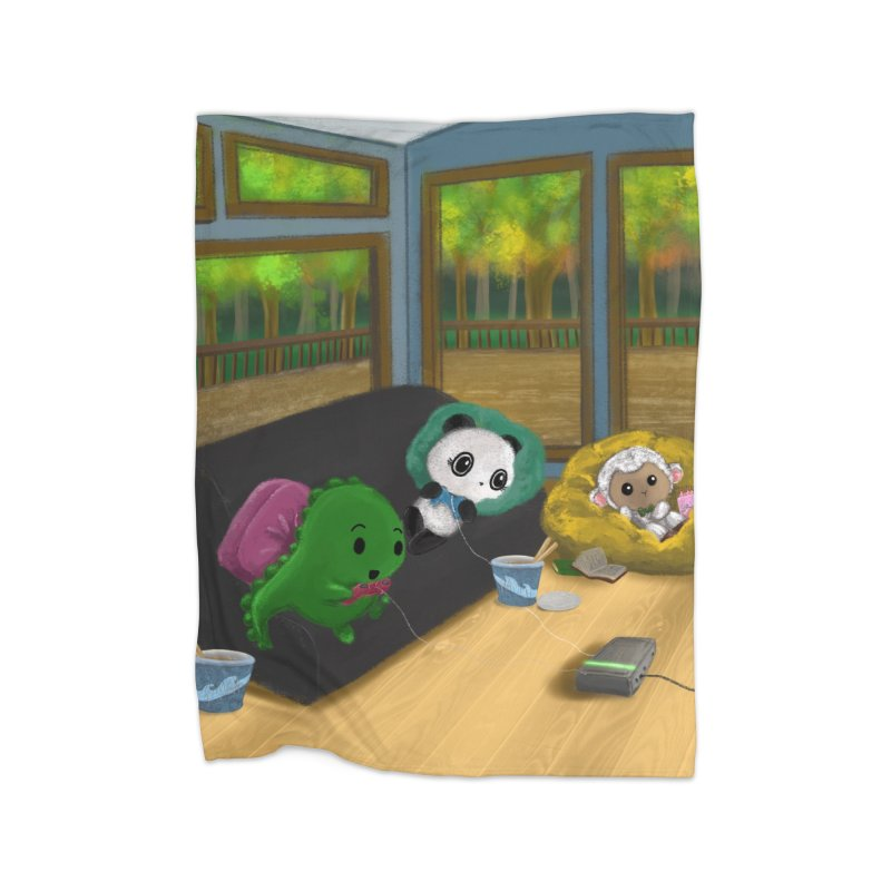 Dino, Panda, and Lambie Gamers Home Blanket by Dino & Panda Artist Shop