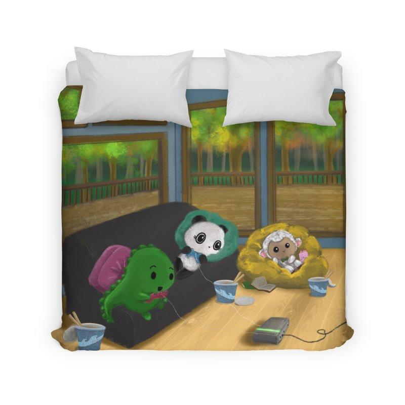 Dino, Panda, and Lambie Gamers Home Duvet by Dino & Panda Artist Shop