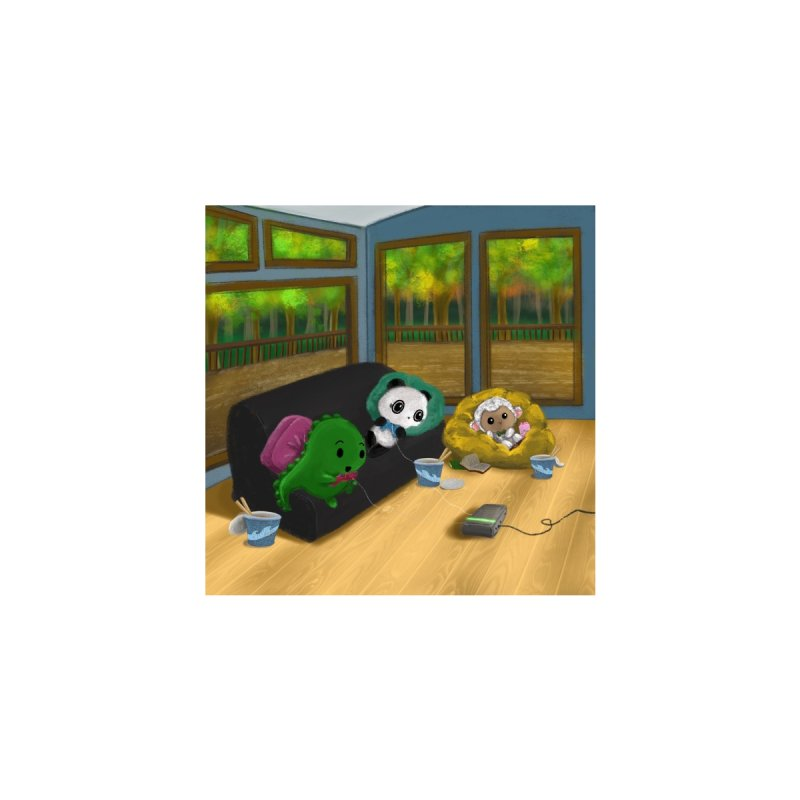 Dino, Panda, and Lambie Gamers Home Stretched Canvas by Dino & Panda Artist Shop