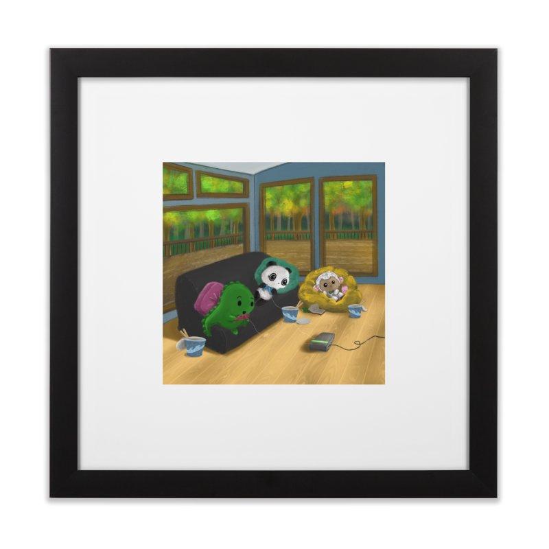 Dino, Panda, and Lambie Gamers Home Framed Fine Art Print by Dino & Panda Artist Shop