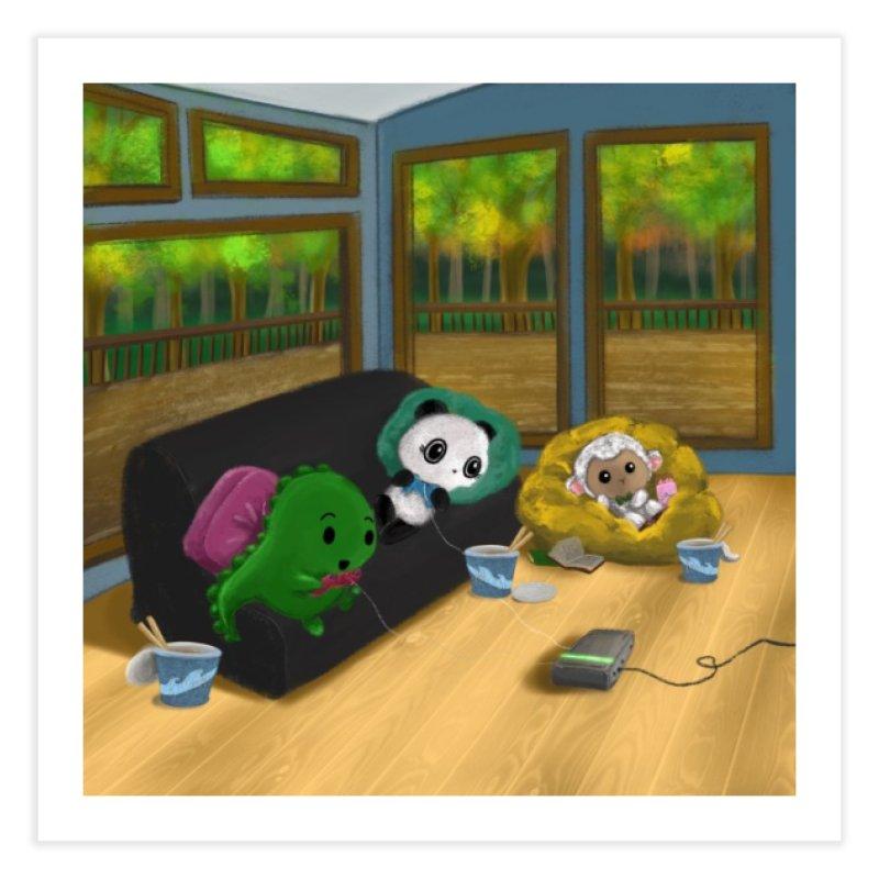 Dino, Panda, and Lambie Gamers Home Fine Art Print by Dino & Panda Artist Shop